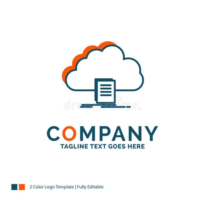 wolk, toegang, document, dossier, download Logo Design Blauw en of stock illustratie