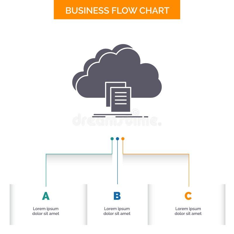 wolk, toegang, document, dossier, het Ontwerp download van de Bedrijfsstroomgrafiek met 3 Stappen Glyphpictogram voor Presentatie stock illustratie