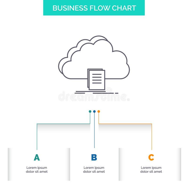 wolk, toegang, document, dossier, het Ontwerp download van de Bedrijfsstroomgrafiek met 3 Stappen Lijnpictogram voor Presentatie  vector illustratie