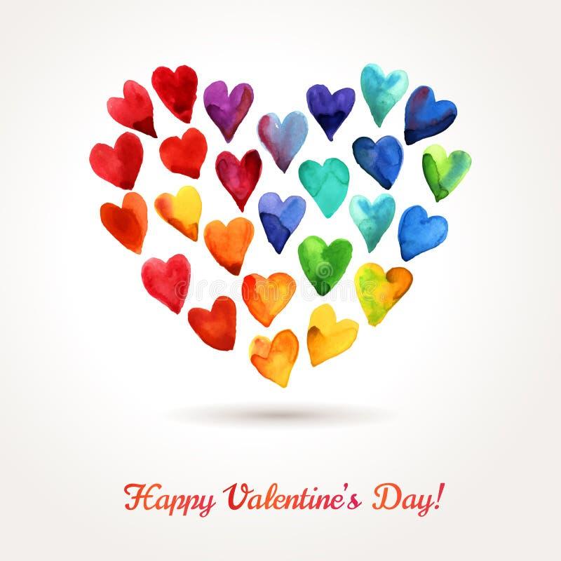 Wolk van de Dagharten van waterverf de Gelukkige Valentijnskaarten stock illustratie