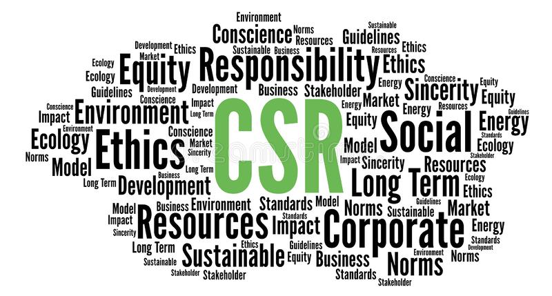 Wolk van het de verantwoordelijkheidswoord van CSR de collectieve sociale stock illustratie