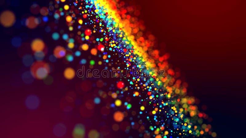 Wolk van multicolored deeltjes in de lucht zoals fonkelingen op een donkere achtergrond met velddiepte Mooi bokehlicht stock fotografie