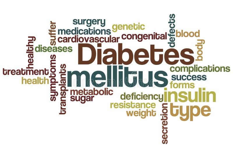 Wolk van Word van de diabetes mellitus stock illustratie