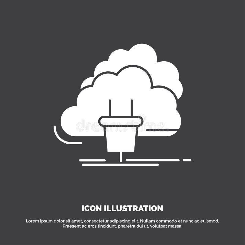 Wolk, verbinding, energie, netwerk, machtspictogram glyph vectorsymbool voor UI en UX, website of mobiele toepassing vector illustratie
