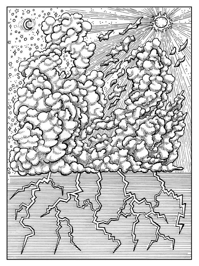 wolk Zwart-wit mysticusconcept voor Lenormand-de kaart van het orakeltarot stock illustratie