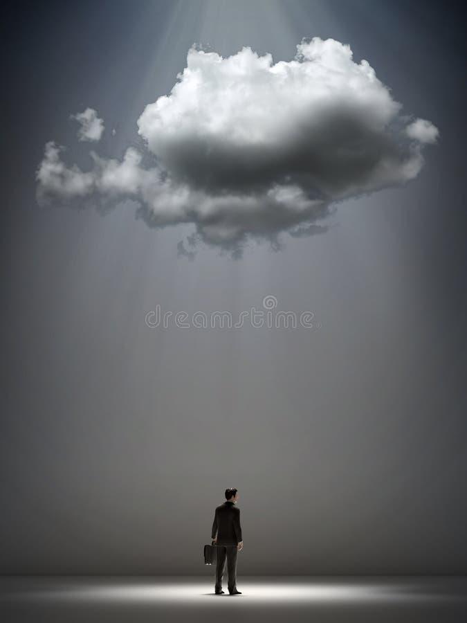 Wolke über einem Geschäftsmann lizenzfreie abbildung