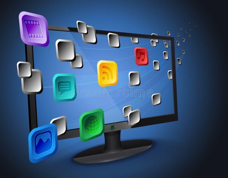 Wolke apps auf Internet Fernsehapparat/Computer stock abbildung
