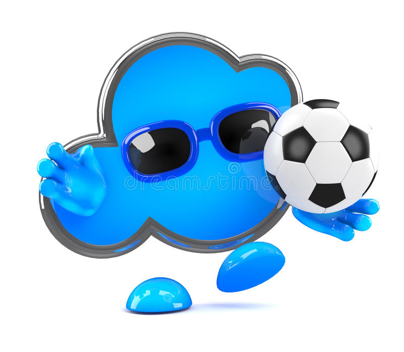 Wolke 3d spielt Fußball lizenzfreie abbildung
