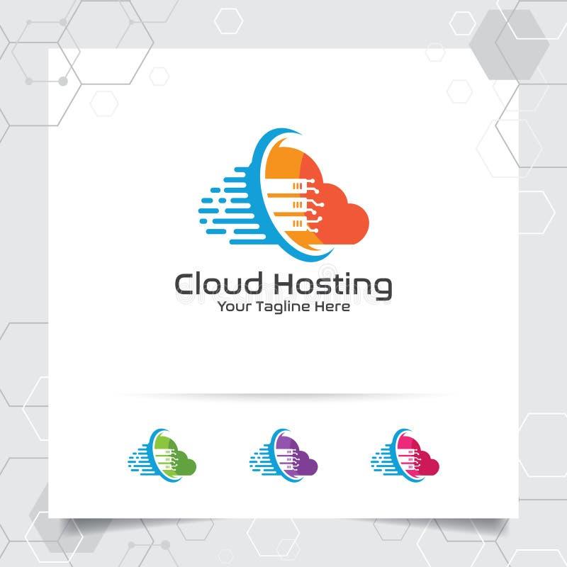 Wolke, die Logovektorentwurf mit Konzept der Server- und Wolkenikone bewirtet Wolkenserver-Vektorillustration f?r die Bewirtung d vektor abbildung