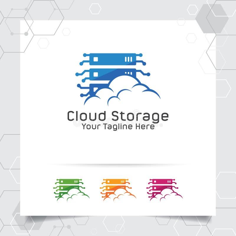 Wolke, die Logovektorentwurf mit Konzept der Server- und Wolkenikone bewirtet Wolkenserver-Vektorillustration f?r die Bewirtung d lizenzfreie abbildung
