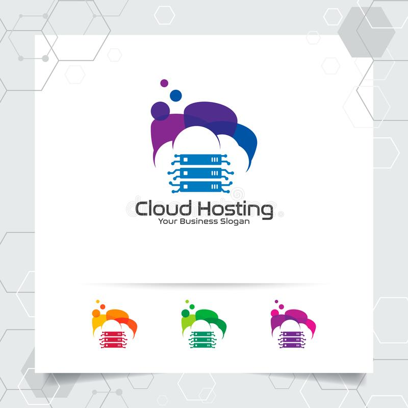 Wolke, die Logovektorentwurf mit Konzept der Server- und Wolkenikone bewirtet Wolkenserver-Vektorillustration f?r die Bewirtung d stock abbildung