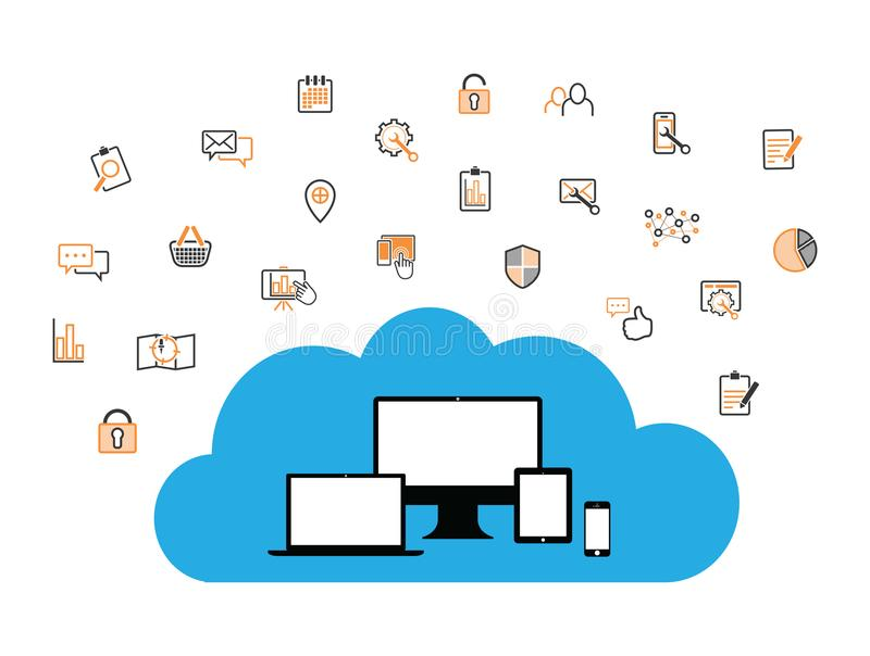 Wolke ermöglichte Ausrüstungsinternet-Geschäftsikonen vektor abbildung