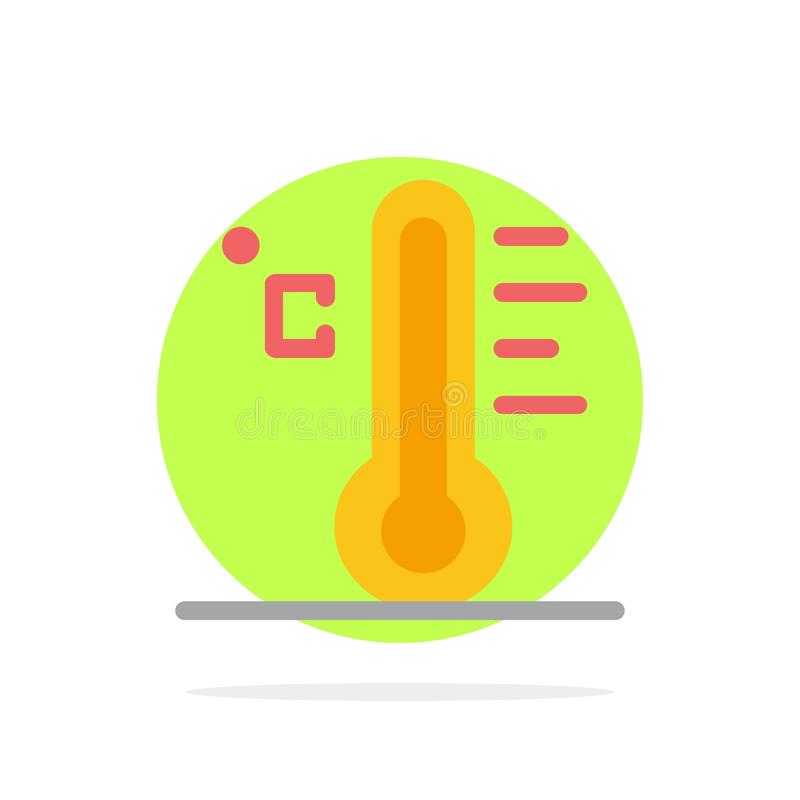 Wolke, hell, regnerisch, Sun, flache Ikone Farbe des Temperatur-Zusammenfassungs-Kreis-Hintergrundes lizenzfreie abbildung