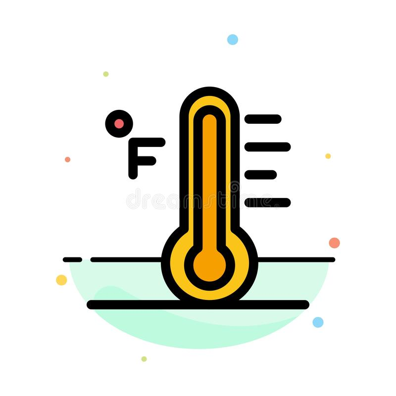 Wolke, hell, regnerisch, Sun, Temperatur-Zusammenfassungs-flache Farbikonen-Schablone vektor abbildung