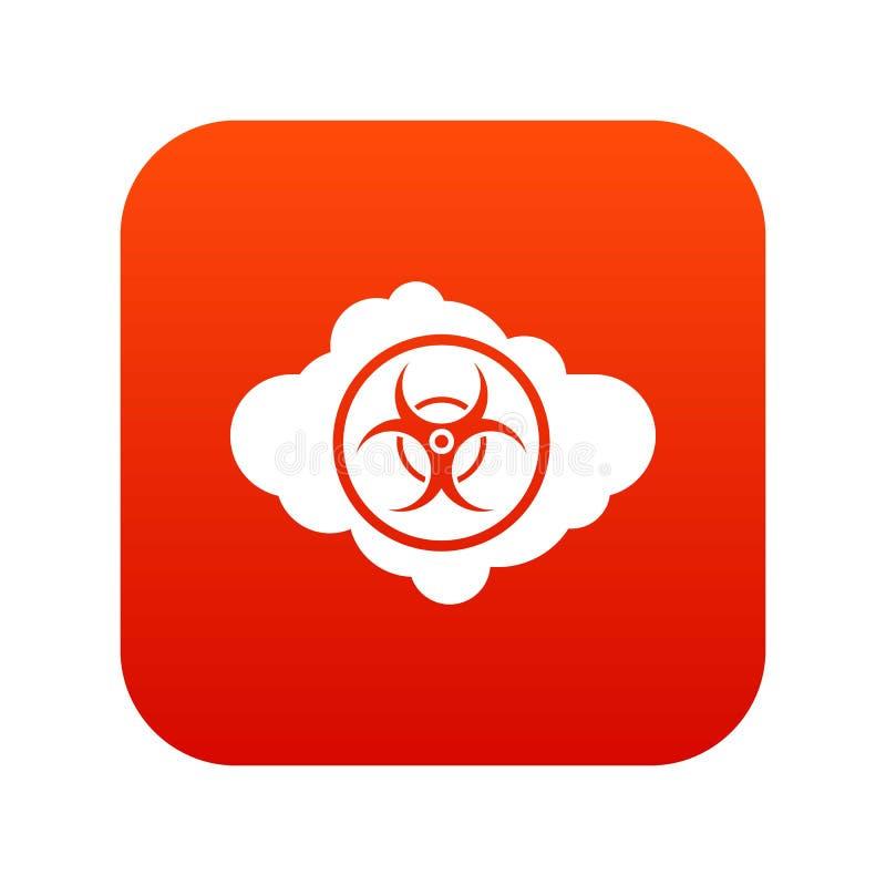 Wolke mit digitalem Rot der Biohazardsymbol-Ikone lizenzfreie abbildung