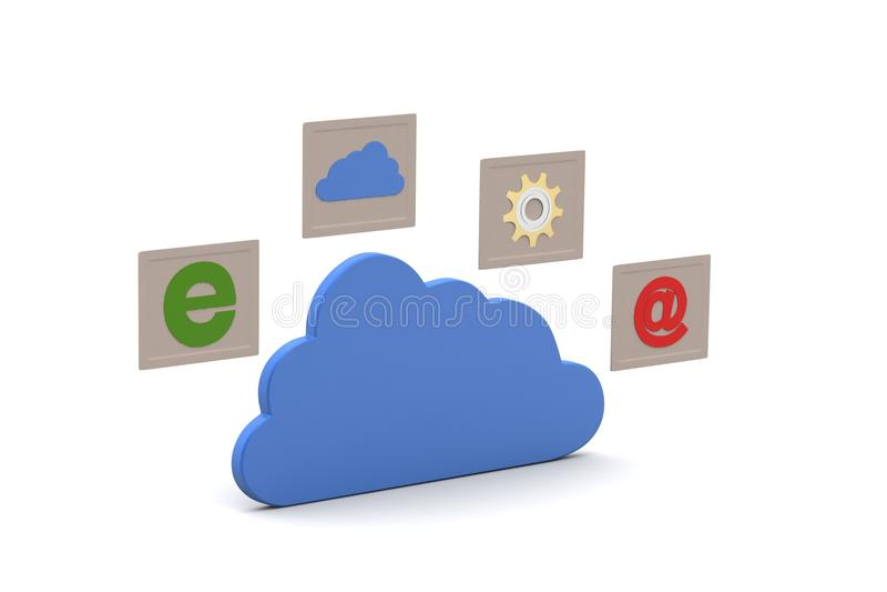 Wolke mit Internet-Ikonen lizenzfreie abbildung