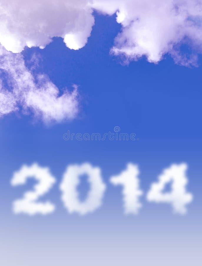 Wolke mit 2014 Texten lizenzfreies stockbild