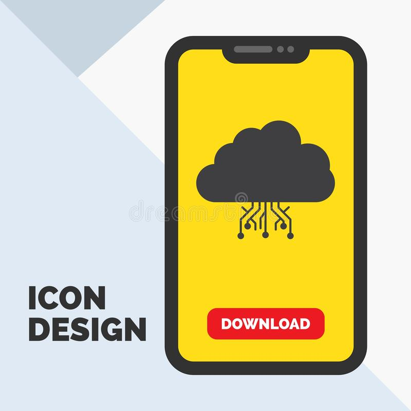 Wolke, rechnend, Daten und bewirten, Netz Glyph-Ikone im Mobile für Download-Seite Gelber Hintergrund vektor abbildung