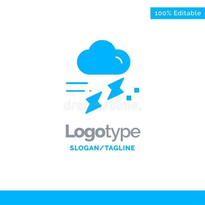 Wolke, Regen, Niederschlag, regnerisch, Donner blauer fester Logo Template Platz f?r Tagline stock abbildung