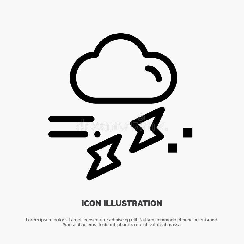 Wolke, Regen, Niederschlag, regnerisch, Donner-Linie Ikonen-Vektor vektor abbildung