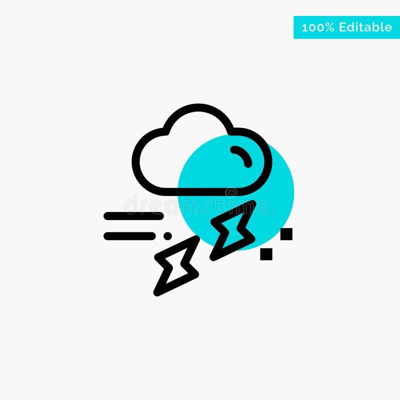 Wolke, Regen, Niederschlag, regnerisch, Donnertürkishöhepunktkreispunkt Vektorikone stock abbildung
