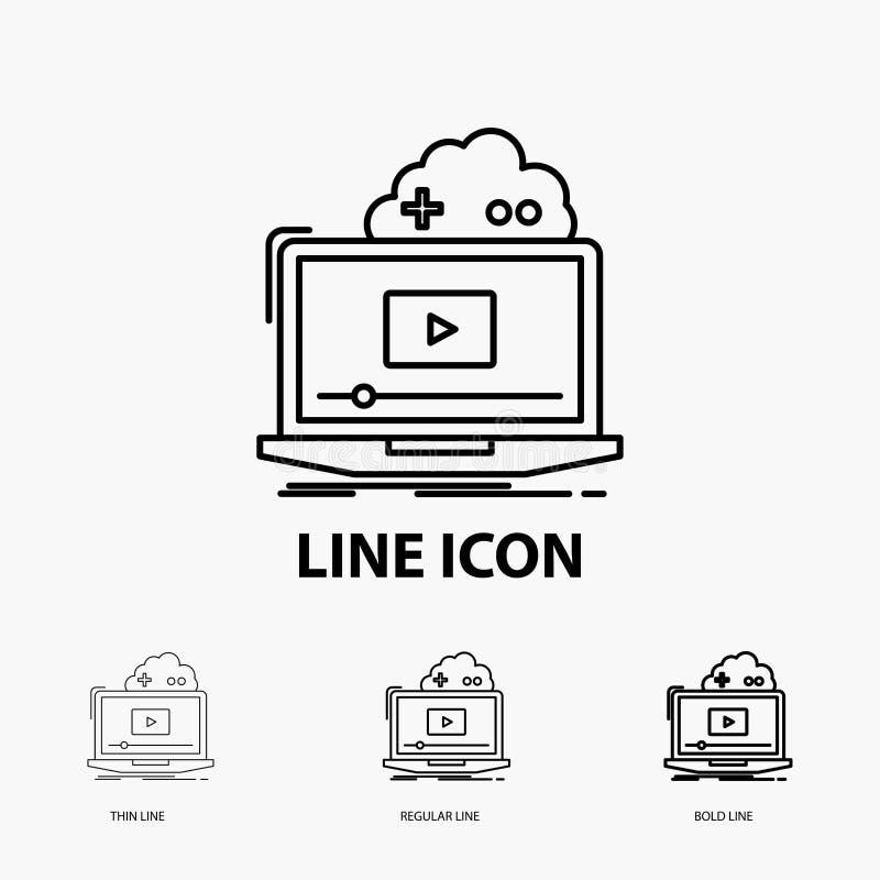 Wolke, Spiel, on-line--, strömende, Videoikone in der dünnen, regelmäßigen und mutigen Linie Art Auch im corel abgehobenen Betrag stock abbildung