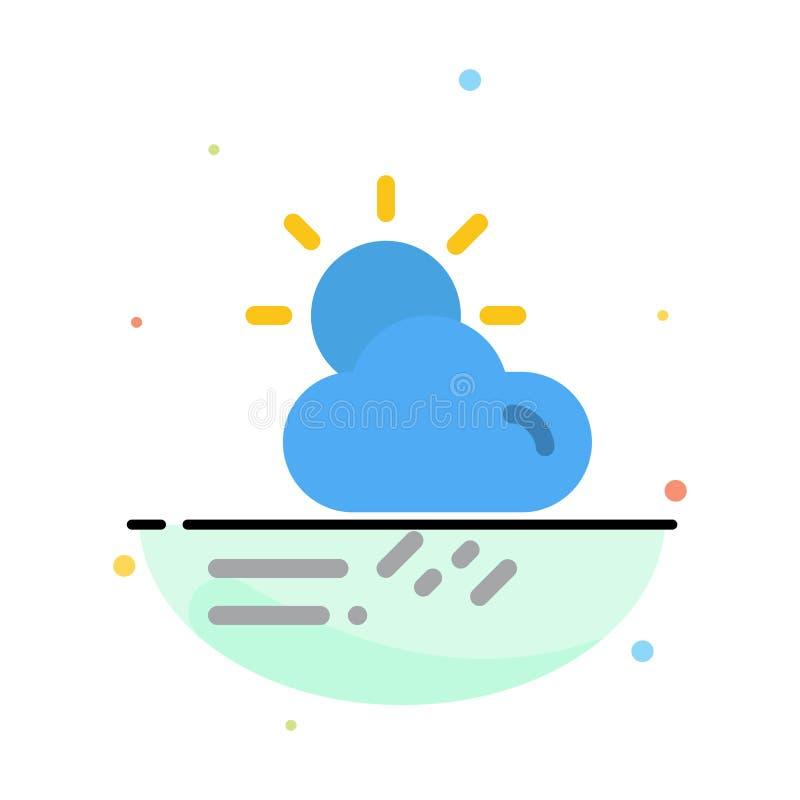 Wolke, Tag, regnerisch, Jahreszeit, Wetter-Zusammenfassungs-flache Farbikonen-Schablone stock abbildung