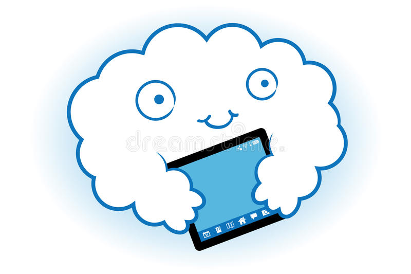 Wolke umarmt die Tablette lizenzfreie abbildung