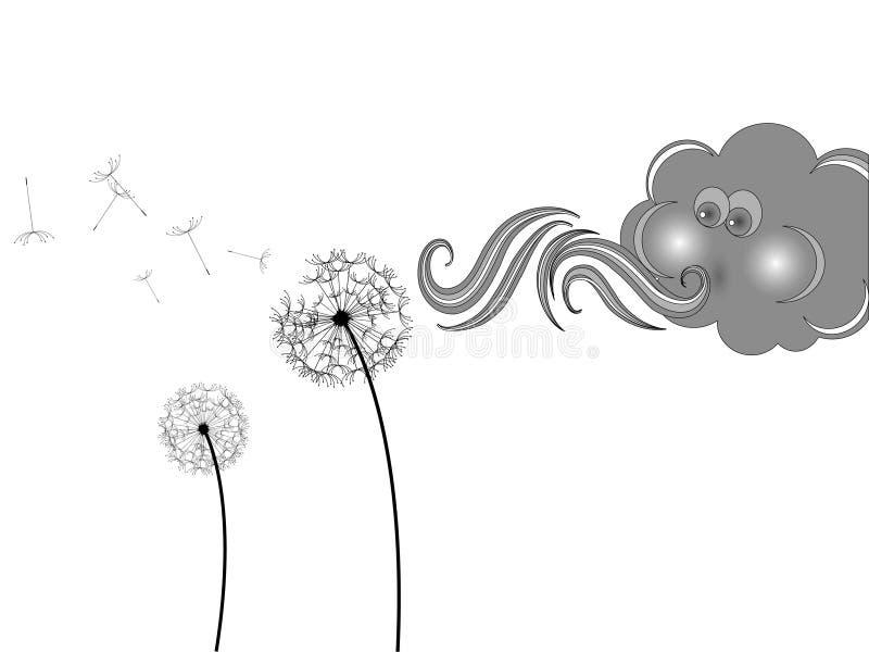 Wolke und Löwenzahn lizenzfreie abbildung