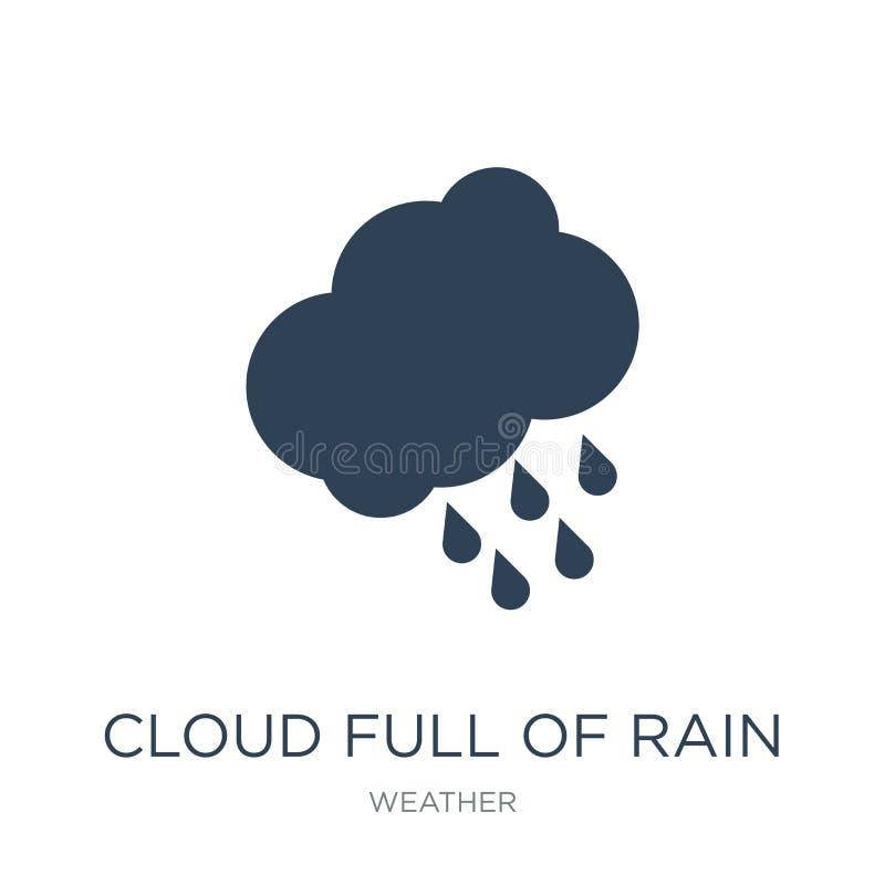 Wolke voll der Regenikone in der modischen Entwurfsart Wolke voll der Regenikone lokalisiert auf weißem Hintergrund Wolke voll de vektor abbildung