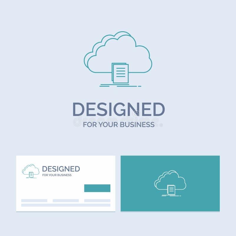 Wolke, Zugang, Dokument, Datei, Download Geschäft Logo Line Icon Symbol für Ihr Geschäft T?rkis-Visitenkarten mit Markenlogo vektor abbildung