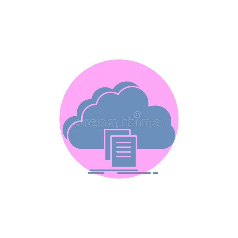 Wolke, Zugang, Dokument, Datei, Download Glyph-Ikone vektor abbildung