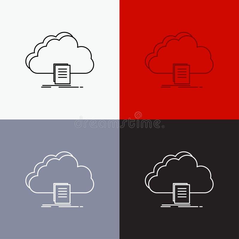 Wolke, Zugang, Dokument, Datei, Download Ikone über verschiedenem Hintergrund r Vektor ENV 10 lizenzfreie abbildung
