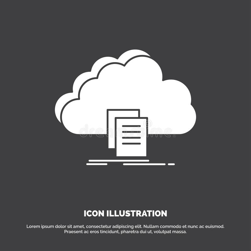 Wolke, Zugang, Dokument, Datei, Download Ikone Glyphvektorsymbol f?r UI und UX, Website oder bewegliche Anwendung stock abbildung