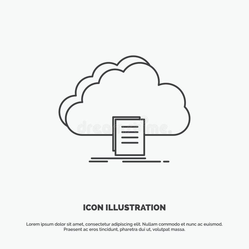 Wolke, Zugang, Dokument, Datei, Download Ikone r lizenzfreie abbildung