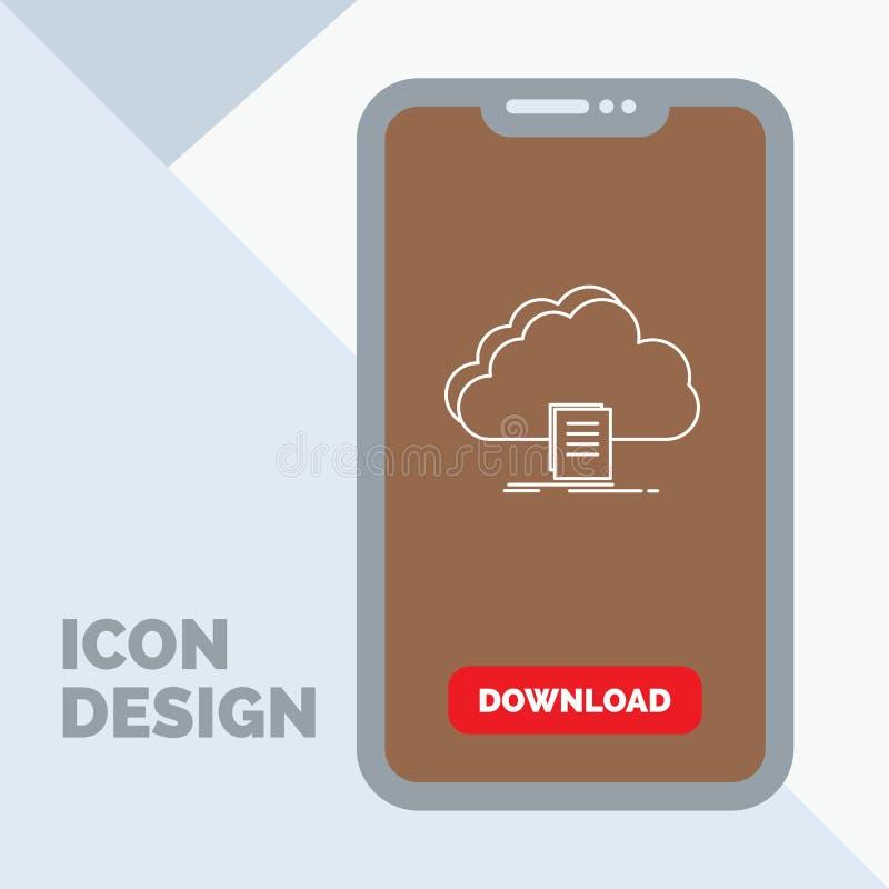 Wolke, Zugang, Dokument, Datei, Download Linie Ikone im Mobile für Download-Seite vektor abbildung