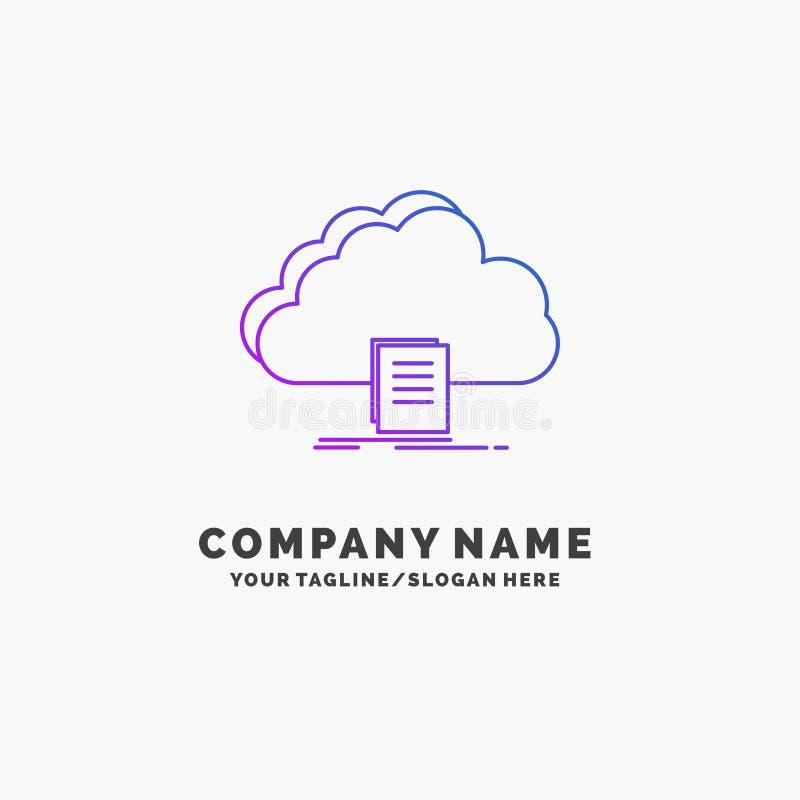 Wolke, Zugang, Dokument, Datei, Download purpurrotes Geschäft Logo Template Platz f?r Tagline stock abbildung