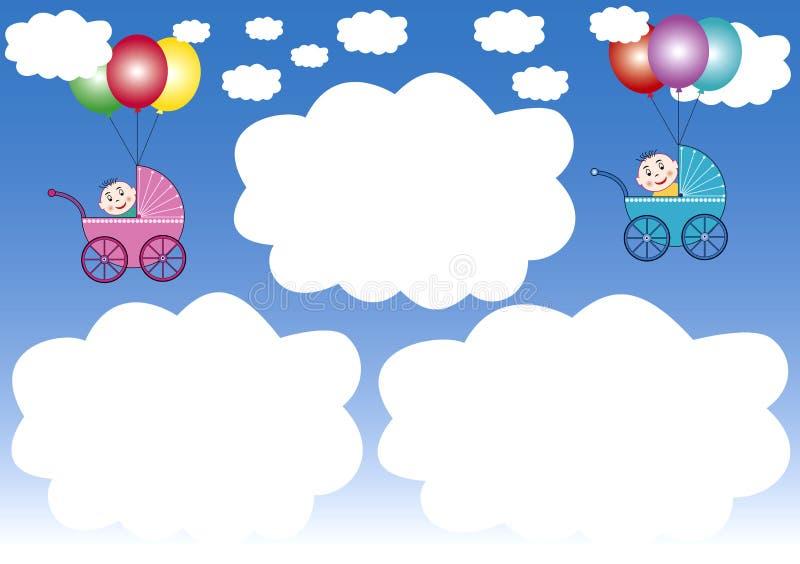 Wolkefelder und Ballone lizenzfreie abbildung