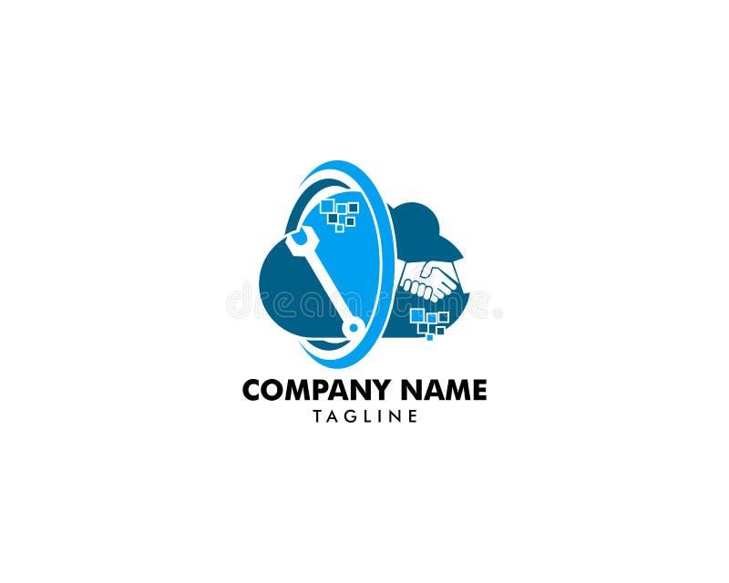 Wolken-Abkommen und Reparatur Logo Design Element stock abbildung