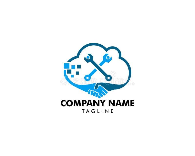 Wolken-Abkommen und Reparatur Logo Design Element lizenzfreie abbildung