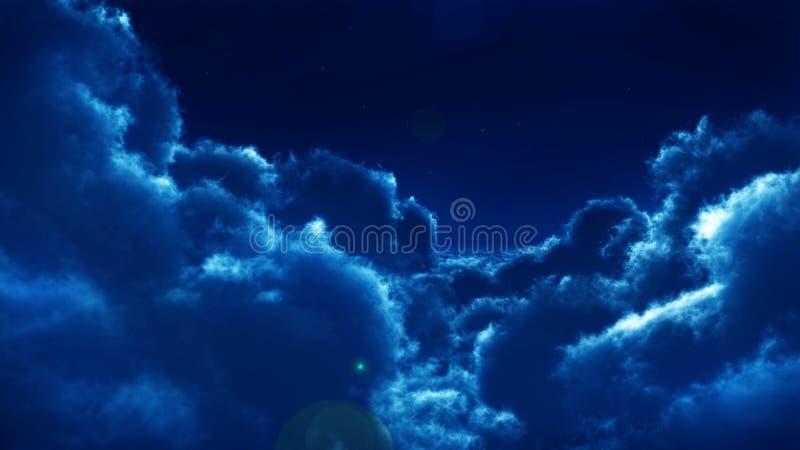 Wolken bij nacht stock illustratie