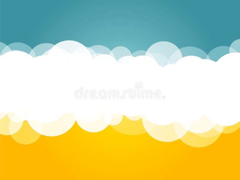 Wolken blauwe gele achtergrond royalty-vrije illustratie