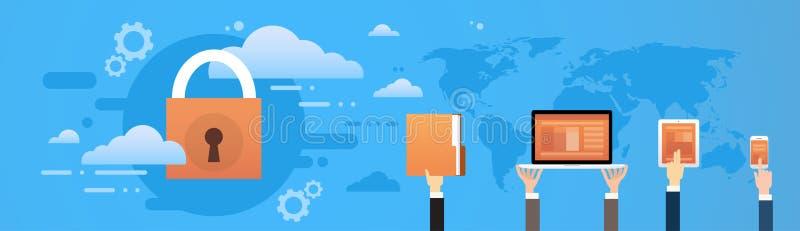 Wolken-Datenbank-Gerät-Daten-Schutz der Privatsphäre-Verschluss-System stock abbildung