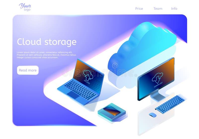 Wolken-Datenspeicherungs-Konzept Isometrische Webseitenschablone Vector die Illustration, die Geräte und Wolke auf der Oberfläche lizenzfreie abbildung