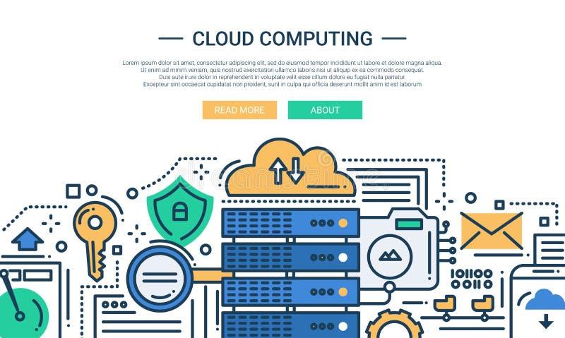 Wolken-Datenverarbeitung - Linie Designwebsitefahne stock abbildung