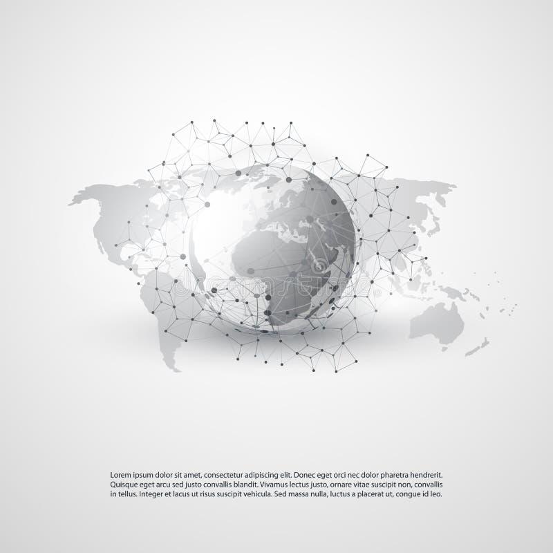 Wolken-Datenverarbeitung und Netz-Konzept mit Weltkarte - globale Digitalnetz-Verbindungen, Technologie-Hintergrund, kreatives De vektor abbildung