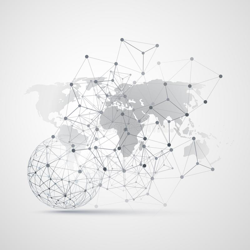 Wolken-Datenverarbeitung und Netze mit Weltkarte - abstrakte globale Digitalnetz-Verbindungen, Technologie-Konzept-Hintergrund vektor abbildung