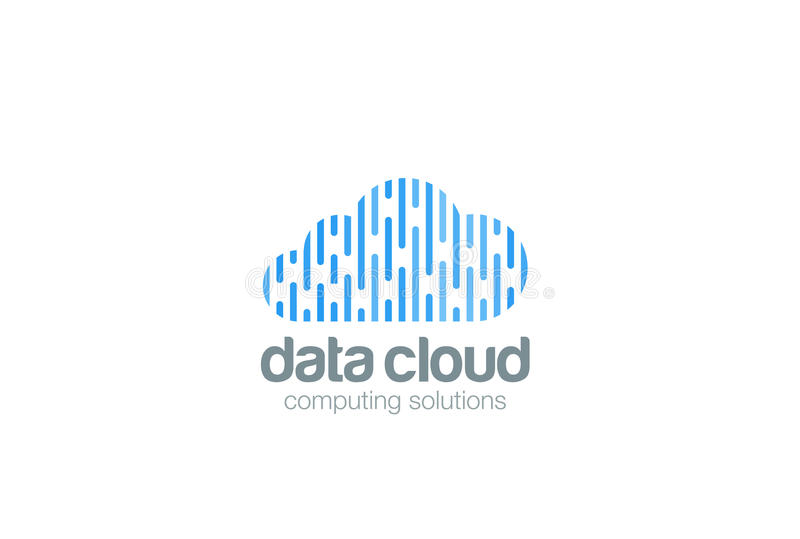 Wolken-Datenverarbeitungslogodesign Datenspeicherungsnetz t lizenzfreie abbildung