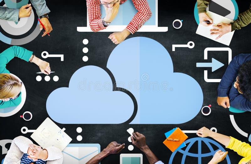 Wolken-Datenverarbeitungsnetz-on-line-Internet-Speicher-Konzept lizenzfreie stockbilder
