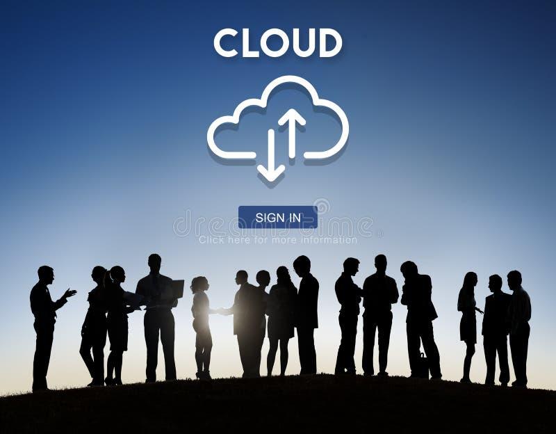 Wolken-Datenverarbeitungsnetzwerkspeicher-Storage Technology Daten-Konzept stockfoto